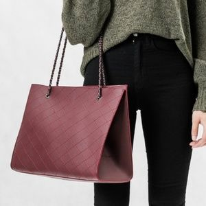 MELIE BIANCO Vegan Nova Burgundy Tote Shoulder Bag 4aebaeff03925